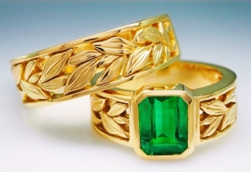 Emerald ring and band