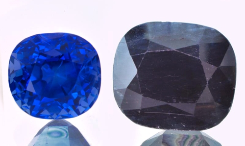 Here's an example of a 5-carat blue sapphire that is top quality, next to a 20-carat blue sapphire that's...well, not exactly top quality. Which one do you think works the best for Vedic Astrology?